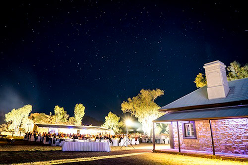 A magical dinner under a chandelier of stars at the Alice Springs Telegraph Station